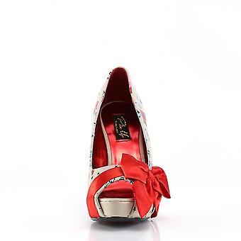 Pin Women's Shoes Up Cream Pu-Red Satin (Tattoo Print)