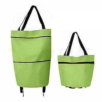 (Green) Foldable Shopping Bag on Wheel Reusable Eco-Friendly Trolley Cart Large HandbagsFoldable