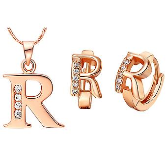 (R)  Alphabet Rhinestone Womens 26 Initial Letter Huggie Earrings Necklace Jewelry Set Rose Gold