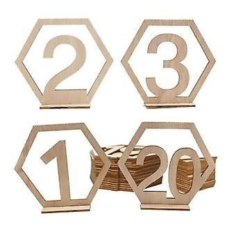 10Pc 1-10/11-20 number wooden table number plate hexagon hollow digital seat card bar cafe table number