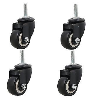 Pyörät 4x mustat huonekalut vuodesohva pyörä 1,5inch kääntöpyörä m8 pultti