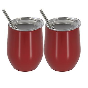 Stainless steel insulated flask, 350ml steel mug, 2 pieces coffee mug with straw(Red)