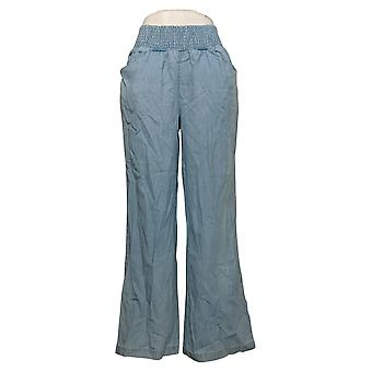 DG2 door Diane Gilman Dames Jeans Smocked Palazzo Pant Blue 656627