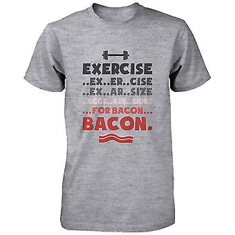 Exercise for Bacon Funny Graphic Tee- Men's Gray Cotton T-Shirt