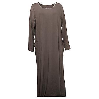 Modern Soul Plus Dress Long Sleeve Solid Purple 671349