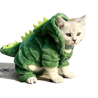 Pet Cat Zimní oblečení Funny Dinosaur Costume Puppy Dog Cat Warm Plyšový kabát Fleece Hoodies Svetr Koťátko Oblečení