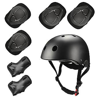 Sports Protective Gear Children's Helmet And Protective Gear 7 Piece Set (black