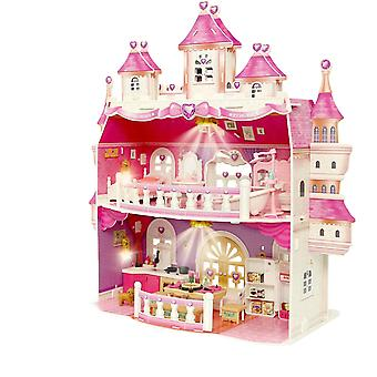 שתי קומות הנסיכה טירת Playet בית בובות גדול עם אורות 2 בובות