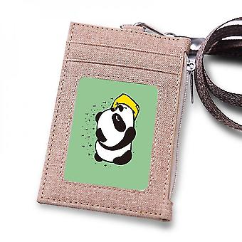 (Brown)Leuyuan Id Badge Case Holder With 1 Id Window And 3 Card Slots And Zipper Coin Pocket