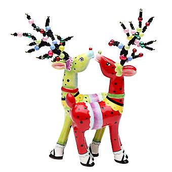 Lime Green and Red Whimsical Deer Reindeer Salt and Pepper Shakers