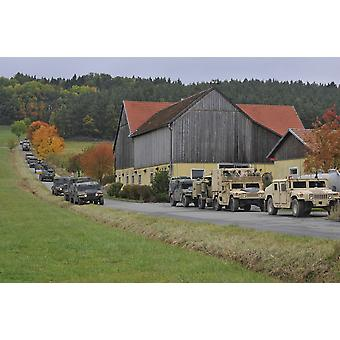 October 15 2012 - US Soldiers prepare to convoy from Amberg Germany to the Joint Multinational Readiness Center in Hohenfels Germany during Saber Junction 2012 Poster Print