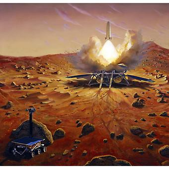 A Mars ascent vehicle starting a sample of Mars rocks on their trip to Earth Poster Print