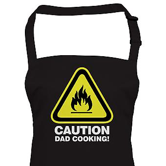 Caution Dad Cooking, Funny BBQ Apron, Fathers Day Birthday Gift Barbecue Smoker