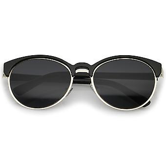 Classic Doppelzimmer Nasensteg Metall Trim Runde Cat Eye Sonnenbrille 55mm