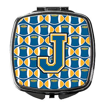 Carolines Treasures  CJ1077-JSCM Letter J Football Blue and Gold Compact Mirror