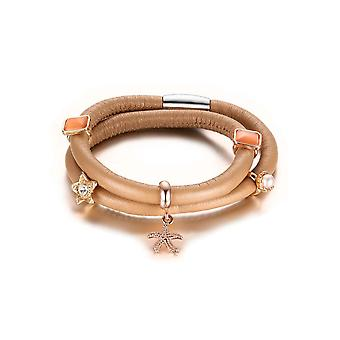 Bracelet Double Rang Charm's en Cuir Beige et Beads 6010