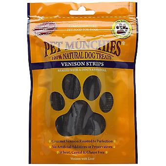 Pet Munchies Natural Dog Treats Venison Strips, 75 g, Box of 8