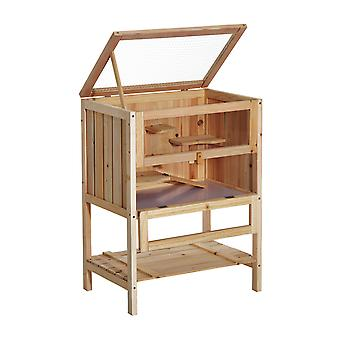 Pawhut 3 Tiers Wooden Hamster Cage Fir Wood Mouse Guinea Rodent Mice House Pet Play Small Animals 60L×40W×80H cm