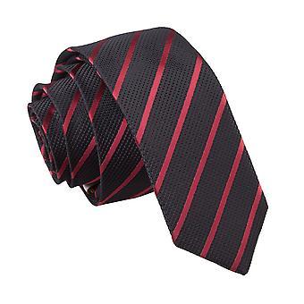 Black & Burgundin yksi raita laiha solmio