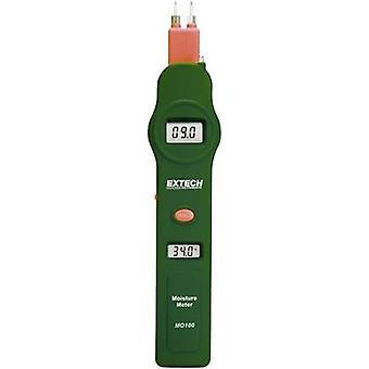 Extech MO100 Medidor de humedad Construyendo rango de lectura de humedad 0 hasta 100 vol% Rango de lectura de humedad de madera 0 hasta 100 vol% Lectura de temperatura