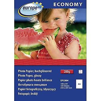 Europa 100 Wirtschaft Fotopapier glänzend EPC004 Fotopapier A4 210 gm2 100 Blatt Hochglanz