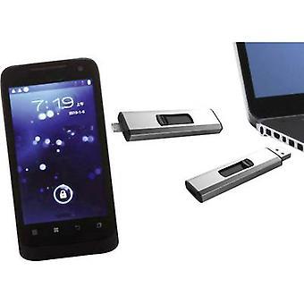 Xlyne Dual OTG USB Smartphone/Tablet Extraspeicher Silber 32 GB USB 2.0, Micro USB 2.0