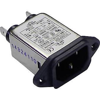 Yunpen YB06T1 Line filter + IEC socket 250 V AC 6 A 0.7 mH (L x W x H) 57 x 25.25 x 52.3 mm 1 pc(s)