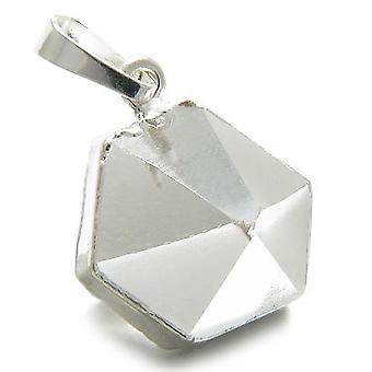 Brasilianske heldig Rock kvartskrystall punkt sjarm Amulet Gemstone dyppet i sølv anheng