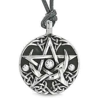 お守り五芒星魔法のスーパー スター ケルト炎防衛白水晶五芒星ペンダント ネックレス