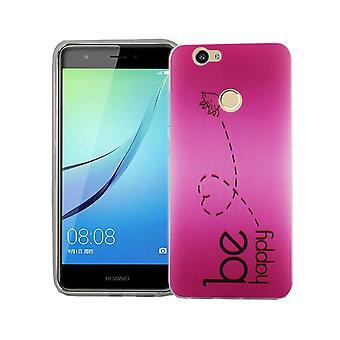 Handy Hülle für Huawei Nova Cover Case Schutz Tasche Motiv Slim TPU + Panzer Schutz Glas 9H Be Happy Pink