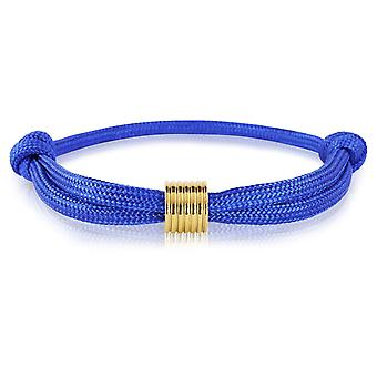 Schipper armband surfer band mark knooppunten armband blauw met gouden hanger 7362
