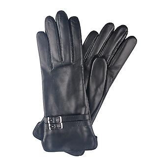 Black Twin Buckle Leather Gloves