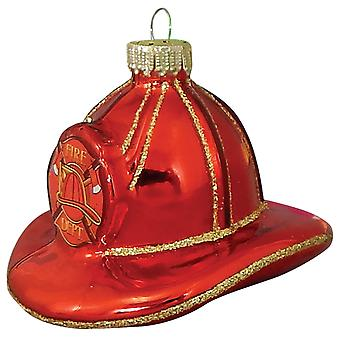 Christmas By Krebs Firefighter Hat Holiday Ornament Glass