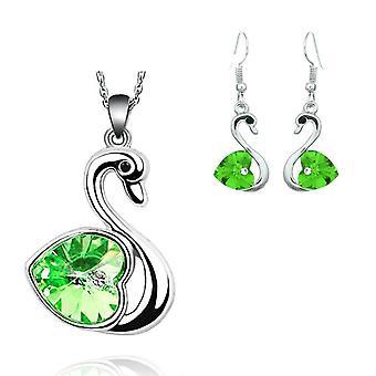 Křišťálové srdce v zeleném Labutí klenoty nastavit náušnice a odpovídající náhrdelník stříbrný