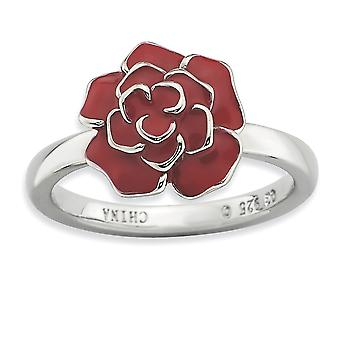 925 Sterling Silver Enamel Polished Rhodium-plated Stackable Expressions Rose Ring - Ring Size: 5 to 10