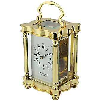 David Peterson Doucine 8 Day Mechanical Carriage Clock - Gold