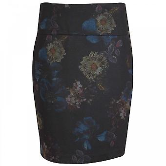 Up! Navy Blue Flower Print Pencil Skirt