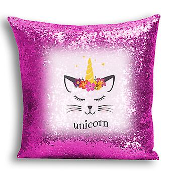 i-Tronixs - Unicorn Printed Design Pink Sequin Cushion / Pillow Cover for Home Decor - 2