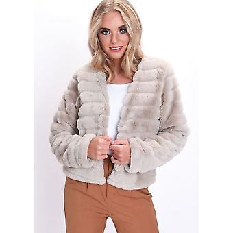 Myke Faux Fur panelet Crop jakke Beige