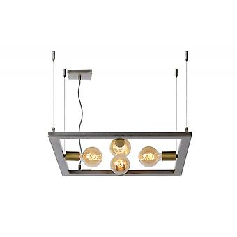 Lucide Thor Modern Square Metal Natural Iron Pendant Light
