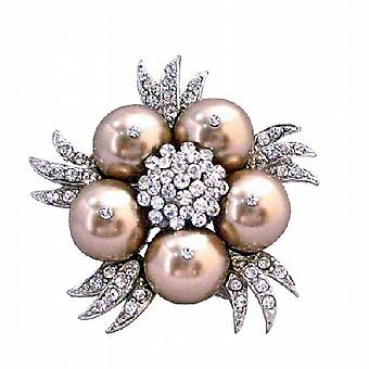Bronze Swarovski Perlen funkelnde Diamanten kubischer Zirkon Braut Brosche