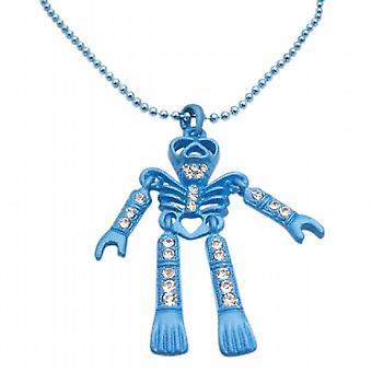 Blue zircon cúbico de colar de pingente esqueleto Halloween joias