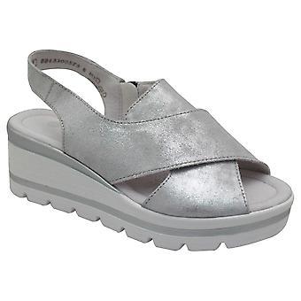 Remonte Metallic Open Toe niedrige Keil Sandale