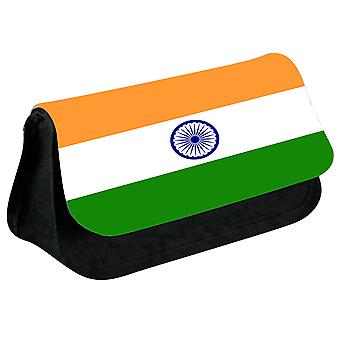 India Flag Printed Design Pencil Case for Stationary/Cosmetic - 0077 (Black) by i-Tronixs