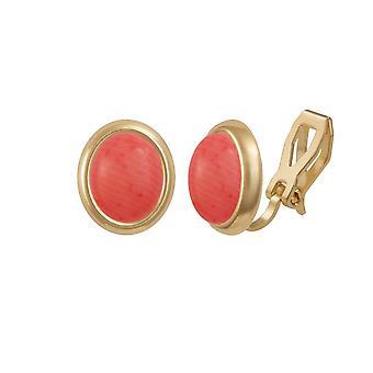 Ewige Sammlung Menuett rosa Korallen Goldton Stud Clip auf Ohrringe