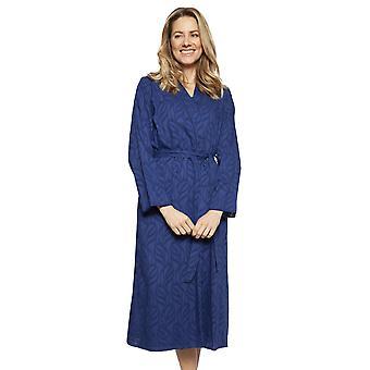 Cyberjammies 1324 Women's Nora Rose Thea Navy Blue Cotton Long Robe