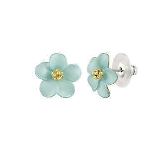 Eternal Collection Anemone Aqua Enamel Gold Tone Stud Pierced Earrings