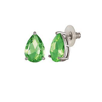 Eternal Collection Seduction Teardrop Peridot Green Crystal Silver Tone Stud Pierced Earrings