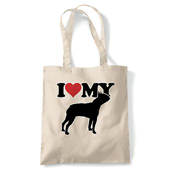 I Love My Boston Terrier Tote - Reusable Shopping Canvas Bag Gift