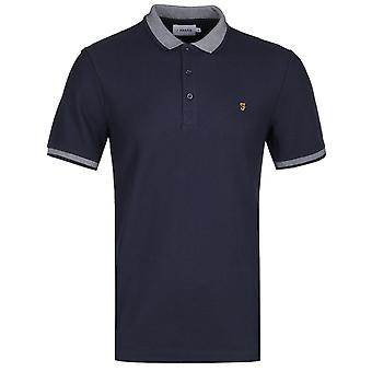 Farah Mills streep kraag Navy Polo shirt
